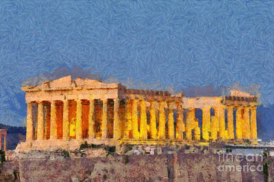 Monument Painting - Parthenon Temple During Dusk Time by George Atsametakis
