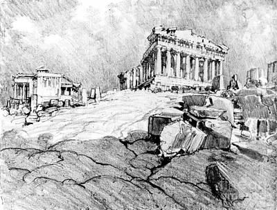 Caryatids Photograph - Parthenon Greece 1913 by Padre Art