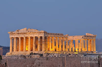 Acropolis Photograph - Parthenon In Acropolis Of Athens During Dusk Time by George Atsametakis