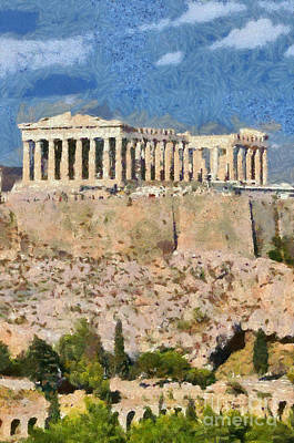 Paint Painting - Parthenon Temple by George Atsametakis