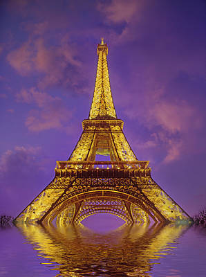 Photograph - Partially Submerged Eiffel Tower by Harald Sund