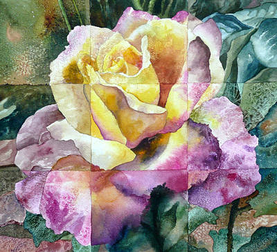 Pink And Yellow Painting - Partitioned Rose  by Anne Gifford