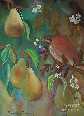 Pastel - Partridge And Pear Blossoms by Robin Maria Pedrero