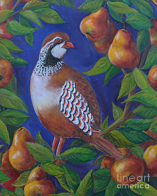 Kristine Painting - Partridge In A Pear Tree by Kristine Kainer