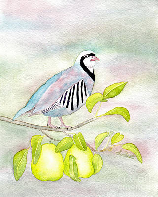 12 Days Of Christmas Painting - Partridge In A Pear Tree by Laurel Best