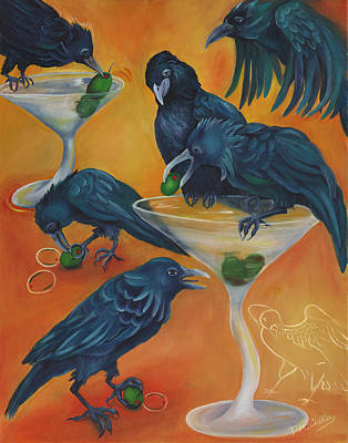 Crows Painting - Party Animals - Murder Of Crows by Debbie McCulley