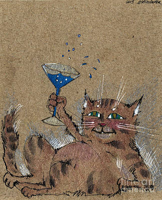 Drunken Drawing - Party Cat by Angel  Tarantella