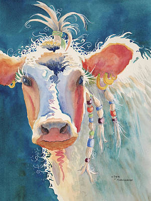 Party Gal - Cow Art Print by Deb  Harclerode