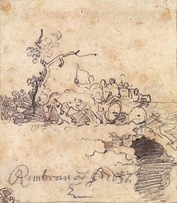 Artist Process Painting - Party In A Cart On A Bridge by Rembrandt