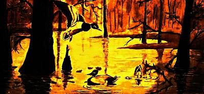 Wood Duck Painting - Party Time  by Hazel Holland