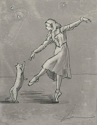 Pa Drawing - Pas De Deux From The Tiger Of Tangiers by H James Hoff