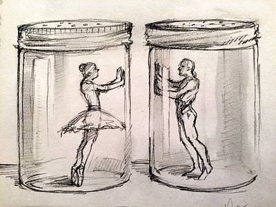 Broken Drawing - Pas De Deux by H James Hoff