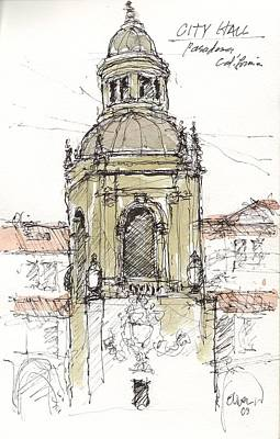Art Print featuring the mixed media Pasadena City Hall by Tim Oliver