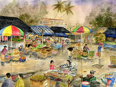 Painting - Pasar Tradisional Pacung Bali Indonesia by Melly Terpening