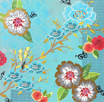 Mixed Media Florals Painting - Pashmina by Jennifer Peck