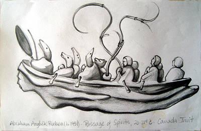 Inuit Drawing - Passage Of Spirits by Karen Coggeshall