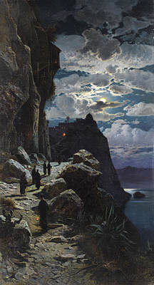Painting - Passage Of The Monks To Mount Athos Monastery by Hermann Corrodi