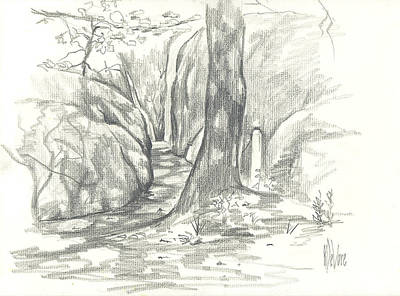 Red Rock Drawing - Passageway At Elephant Rocks by Kip DeVore
