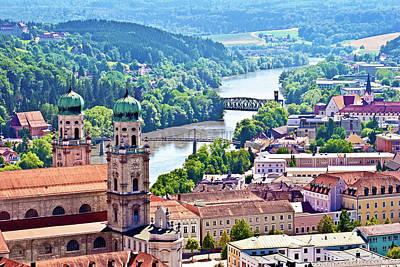 Passau, Bavaria, Germany, Aerial View Art Print by Miva Stock