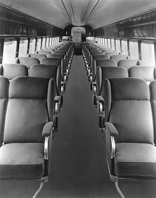 Union Pacific Photograph - Passenger Train Interior by Underwood Archives