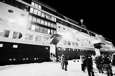 Passengers Boarding Hurtigruten Mv Midnatsol Ship At Night In Vardo Finnmark Norway Europe Art Print