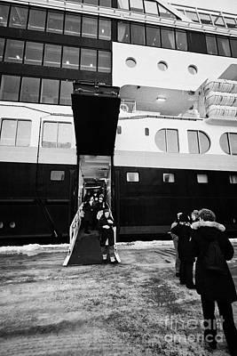 Passengers Boarding Ms Midnatsol Hurtigruten Cruise Ship Berthed In Honningsvag Harbour Norway Europ Art Print