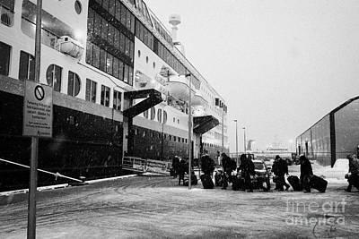 Passengers Boarding Ms Midnatsol Hurtigruten Cruise Ship Berthed In Tromso Harbour Norway Europe Art Print