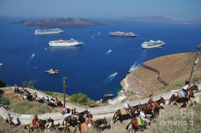 Donkey Photograph - Passengers From Cruise Ships On The Way To Fira City by George Atsametakis