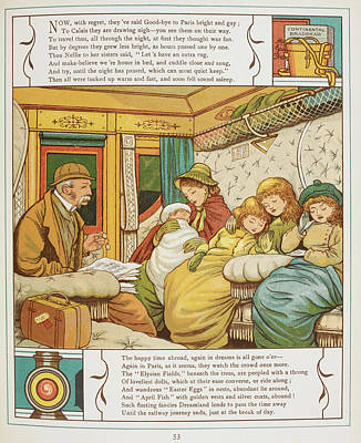 Passengers Inside A Railway Carriage Art Print by British Library