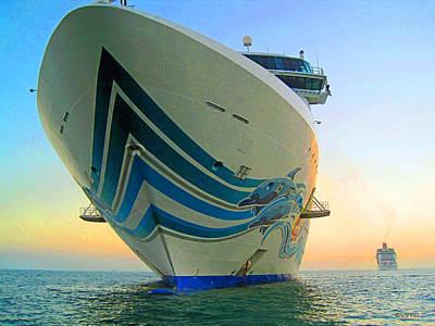 Passing Cruise Ships At Sunset Art Print by Rebecca Korpita