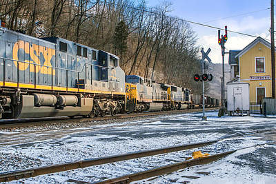 Photograph - Passing Csx Trains by Mary Almond