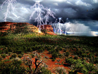 Passing Storm Near Sedona Arizona Art Print by Ric Soulen