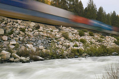 Photograph - Passing Train Rushing River by Mick Burkey