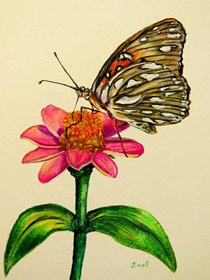 Butterfly Drawing - Passion Butterfly On Zinnia by Zina Stromberg