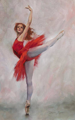Ballet Art Painting - Passion In Red by Anna Rose Bain