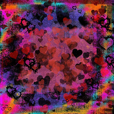 Fun Card Mixed Media - Passionate Hearts I by Marianne Campolongo