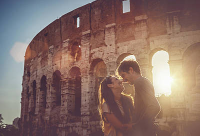 Passionate Kiss In Front Of The Coliseum Art Print by Piola666