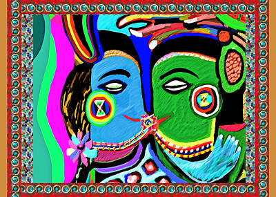 Painting - Passionate Kiss Kamasutra Khajuraho India Cave Style Art Navinjoshi Rights Managed Images Graphic De by Navin Joshi