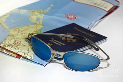 Passport Sunglasses And Map Art Print by Amy Cicconi