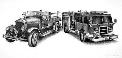 Fire Truck Drawing - Past And Present by Jodi Monroe