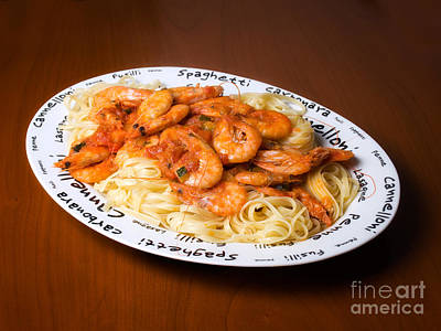 Pasta With Shrimps Art Print