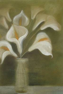 Painting - Pastel Calla Lilies In Glass Vase by Taiche Acrylic Art