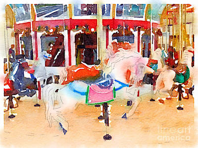 Pastel Carousel Horse Horizontal Original by Janet Dodrill