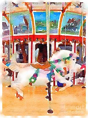 Pastel Carousel Horse Vertical Original by Janet Dodrill