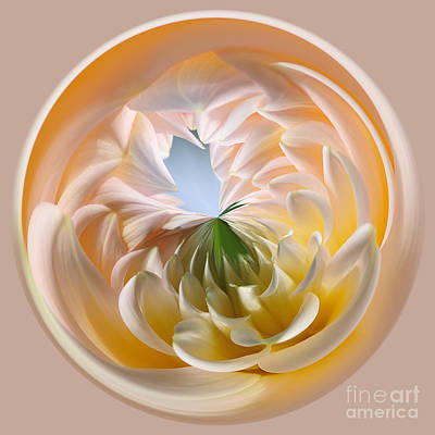 Floral Digital Art Digital Art - Pastel Dahlia Orb by Kaye Menner