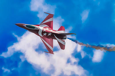 Digital Art - Pastel F-16 by Ray Shiu