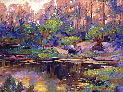 Morning Light Painting - Pastel Lake At Dawn by David Lloyd Glover