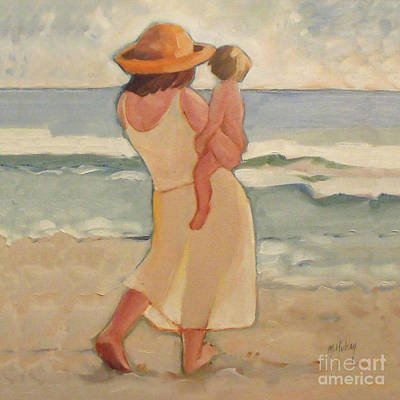 Sunrise At The Beach Painting - Pastel Morning Beach Walk With Mother And Baby by Mary Hubley