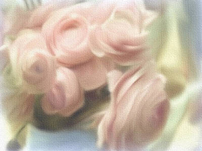 Painting - Pastel Off-white Roses by Dennis Buckman