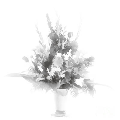 Photograph - Pastel Painting Spring Flower Arrangement In Sepia 3175.01 by M K Miller